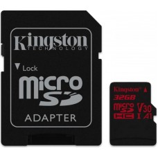 Карта памяти MicroSDHC 32GB UHS-I U3 Class 10 Kingston Canvas React + Adapter SD (SDCR/32GB)
