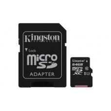 Карта памяти MicroSDXC 64GB UHS-I Class 10 Kingston Canvas Select + Adapter SD (SDCS/64GB)
