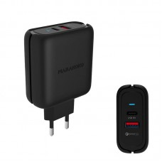 Адаптер сетевой Marakoko MA27 1USB 3A Type-C QC3.0 Black (RL050294)