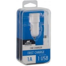 Зарядное устройство автомобильное Rivacase 1USB 1A White (VA4211 WD1) + cable USB-MicroUSB