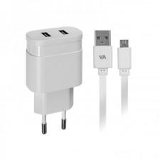 Зарядное устройство сетевое Rivacase 2USB 2.4A White (VA4122 WD1) + cable MicroUSB