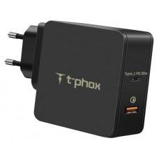 Адаптер сетевой T-phox 1USB 3A QC3.0 Type-C Black (Apace Wall 48W (B))