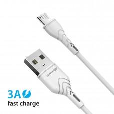 Кабель USB-MicroUSB Grand-X 3A 1m Fast Сharge White (PM-03W)