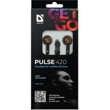 Наушники гарнитура вакуумные Defender Pulse 420 Black/Orange (63420)