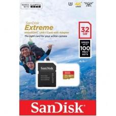 Карта памяти MicroSDHC 32GB UHS-I U3 Class 10 SanDisk Extreme A1 R100/W60MB/s + Adapter SD