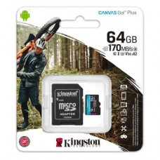 Карта памяти MicroSDXC 64GB UHS-I U3 Class 10 Kingston Canvas Go! Plus R170/W70MB/s + Adapter SD