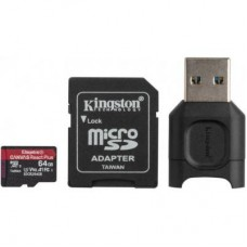 Карта памяти MicroSDXC 64GB UHS-II U3 Class 10 Kingston Canvas React Plus R285/165MB/s + Adapter SD