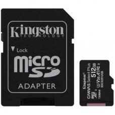Карта памяти MicroSDXC 512GB UHS-I U3 Class 10 Kingston Canvas Select Plus R100MB/s + Adapter SD