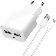СЗУ Florence 1USB 1A White + cable USB-Lightning (TC10-IPH6)