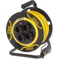 Удлинитель на катушке Stanley 16A 25m IP44 4 розетки Black/Yellow (SXECCL26BSE)