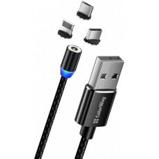 Кабель ColorWay 3 в 1 USB-Lightning-MicroUSB-Type-C Magnetic 2.4А 1m Black (CW-CBUU020-BK)