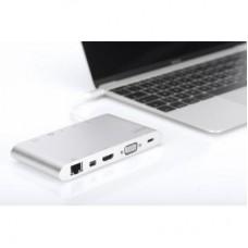USB HUB Type-C-HDMI-miniDisplayport-VGA-RJ45 3USB 3.1 Digitus Silver (DA-70861)