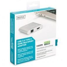 USB HUB Type-C-HDMI-RJ45 3USB 3.0 Digitus Silver (DA-70847)