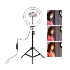 "Лампа кольцевая LED USB Puluz PKT3035 10"" + штатив 1.1 м (PKT3035) Black"