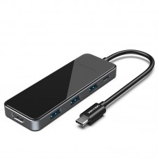 USB HUB Vention 5 в 1 Type-C-HDMI-USB-PD 4USB 3.0 100W 4K 60Hz 5Gbps 0.15m Black (THPBB)