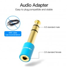 Адаптер Audio 6.35мм-3.5мм Vention F/M gold-plated copper Blue (VAB-S01-L)