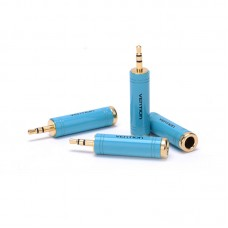 Адаптер Audio 6.35мм-3.5мм Vention M/F gold-plated copper Blue (VAB-S04-L)