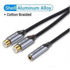Удлинитель Audio 3.5мм-2RCA Vention F/2xF gold-plated 0.3m Black (BCOBY)