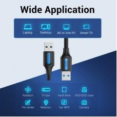Кабель USB-USB 3.0 Vention F/F PVC Round 5Gbps 3m Black (CONBI)