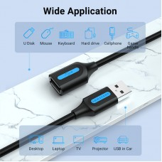 Удлинитель USB-USB 2.0 Vention F/M PVC Round nickel-plated 480Mbps 5m Black (CBIBJ)