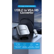 Адаптер Type-C-VGA Vention Luxury 1080P 60Hz gold-plated 0.15m Grey (TDFHB)