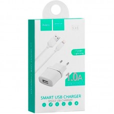 СЗУ Hoco 1USB 1A + cable USB-Lightning C11 White