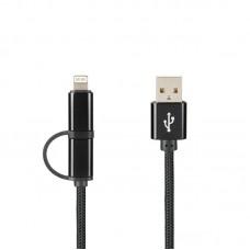 Кабель USB 2 в 1 Lightning Micro Gelius Pro Combo 1m черный