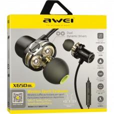 Наушники гарнитура вакуумные Bluetooth Awei X650BL Sport Black