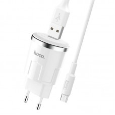 СЗУ 1USB Hoco C37A + Cable USB-MicroUSB 2.4A White