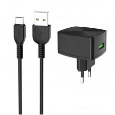 Зарядное устройство сетевое 1USB Hoco C70A QC 3.0 Black + Cable Type-C 3A Black
