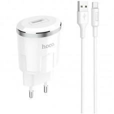 Зарядное устройство сетевое 1USB Hoco C37A + cable USB-Type-C 2.4A White