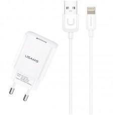 СЗУ 1USB Usams T21 2.1A White + cable USB-Lightning