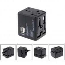 Адаптер сетевой 2USB Usams T2 1A Universal Black US-CC044