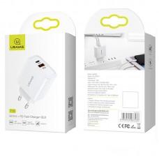 Адаптер сетевой 1USB Usams T15 QC3.0 Type-C 3.2A White US-CC070