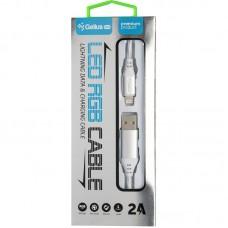 Кабель USB-Lightning Gelius Pro LED RGB GP-UC06i 0.7m 2A Silver