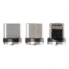 Кабель 3 в 1 USB-Lightning-MicroUSB-Type-C Gelius Pro Magnetic GP-UC-U013u 1m 2A Black