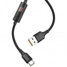 Кабель USB-Type-C Hoco S13 Central control 1m display timer Black