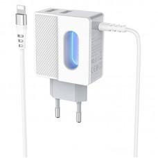 Зарядное устройство сетевое 2USB Hoco C75 + Cable Lightning 2.4A White