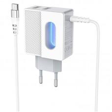 Зарядное устройство сетевое 2USB Hoco C75 + Cable MicroUSB 2.4A White