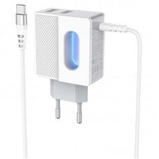 Зарядное устройство сетевое 2USB Hoco C75 + Cable Type-C 2.4A White