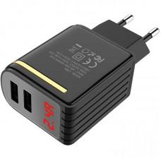 Адаптер сетевой 2USB Hoco C39A 2.4A Black