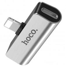 Адаптер Hoco LS25 2in1 Lightning-3.5мм Silver