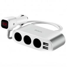 Зарядное устройство автомобильное Hoco Z13 LCD + 2USB Silver/White