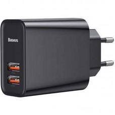 Адаптер сетевой 2USB Baseus Speed QC3.0 U+U 5A 30W (CCFS-E01) Black