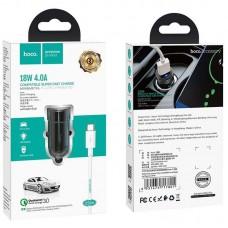 Зарядное устройство автомобильное 1USB Hoco Z32A QC 3.0 + cable USB-Type-C 4A Black
