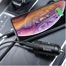 Зарядное устройство автомобильное 1USB Type-C + Cable Type-C-Lightning Hoco Z32B QC3.0 4.5A Black