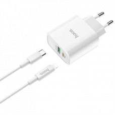 Зарядное устройство сетевое 1USB Type-C + Cable Type-C-Lightning Hoco C80A QC3.0 3.1A White