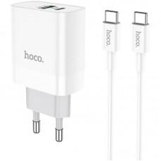 Зарядное устройство сетевое 1USB Type-C + Cable Type-C-Type-C Hoco C80A QC3.0 3.1A White