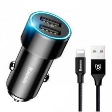 Зарядное устройство автомобильное 2USB + Cable USB-Lightning Baseus Screw 3.4A (TZXLD-A01) Black