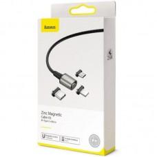 Кабель 3 в 1 USB-Lightning-MicroUSB-Type-C Baseus Zinc Magnetic Kit 2m 3А (TZCAXC-B01) Black